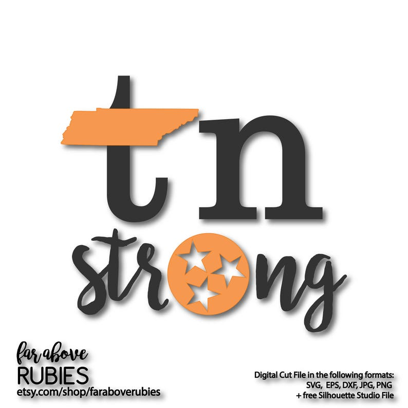 Tn Tennessee Strong With State Tristar Tri Star Svg Eps Dxf Etsy