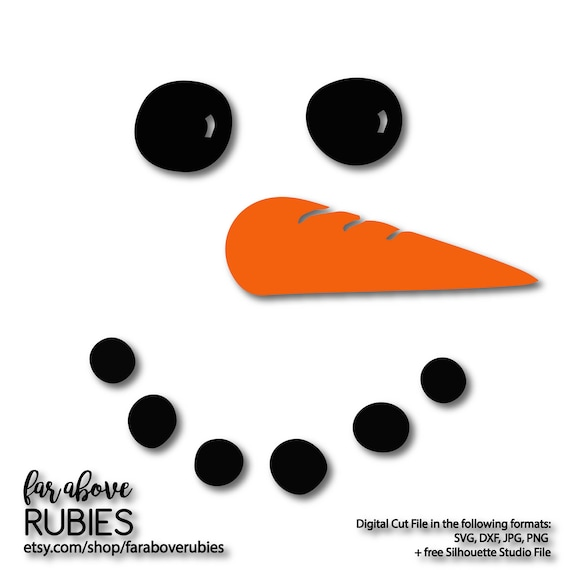 Snowman Face With Carrot Nose Svg Eps Dxf Png Jpg Digital