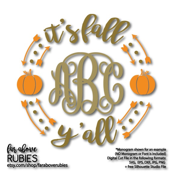 It S Fall Y All Monogram Wreath With Pumpkins Etsy