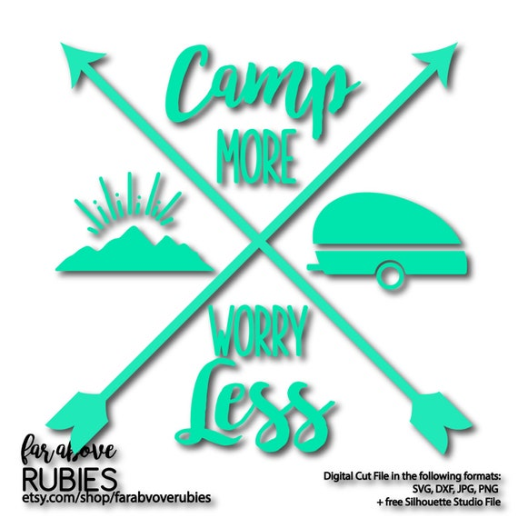 Camp More Worry Less Camping Camper Mountains Sunshine Cross Etsy