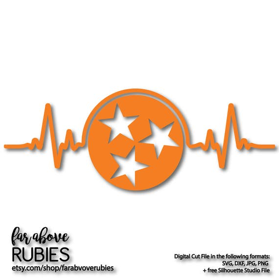 State Of Tennessee Tn Heartbeat Ekg Tristar Star Svg Eps Etsy