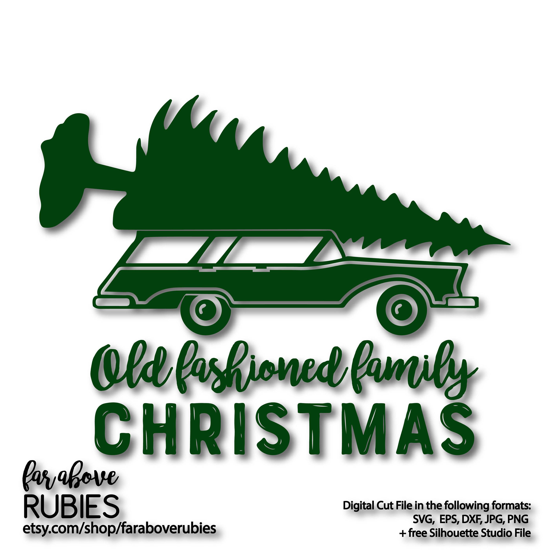 Old Fashioned Family Christmas Station Wagon Tree SVG EPS | Etsy