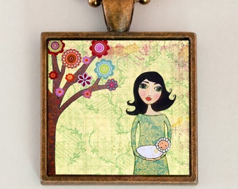 Mother and Baby Pendant Necklace Handmade Art Jewelry