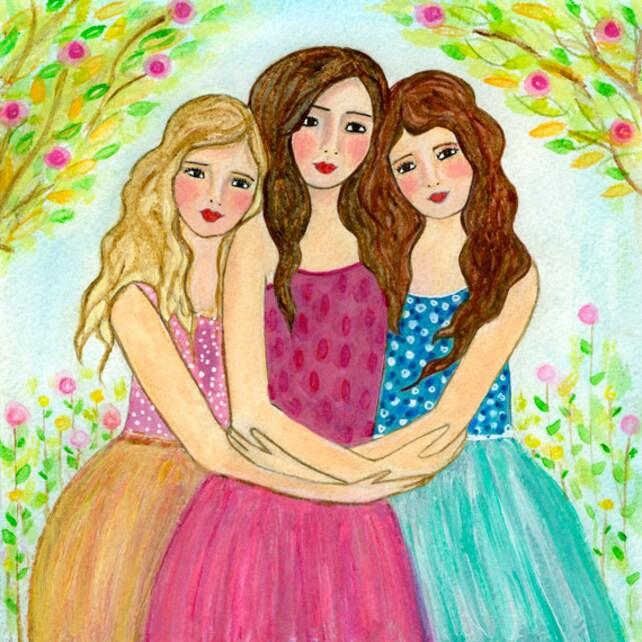 Tres mejores amigos impresión del arte de tres hermanas   Etsy
