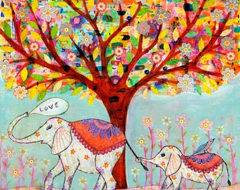 Elephant Love, Mother and Baby Elephant Painting Art Block Print Mixed Media Collage