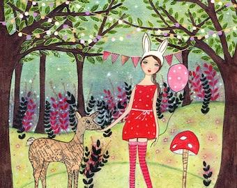 Woodland Nursery Art Print, Large Nursery Print, Art Print for Girls Room Decor, Nursery Wall Art, Children Decor, Art for Kids Room Decor