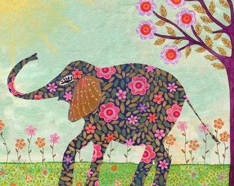 Elephant Art Print, Sunny Elephant Painting, Elephant Illustration, Elephant Nursery Wall Art, Child Decor, Elephant Nursery Decor