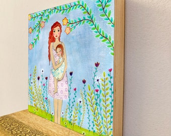 Mother Painting, Mother and Child Art Print on Wood, Wooden Art Block, Mother Daughter Art, Mother Daughter Gift, Motherhood Painting,