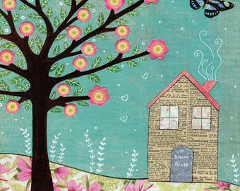 Mixed Media Paper Collage Dream House Art Print
