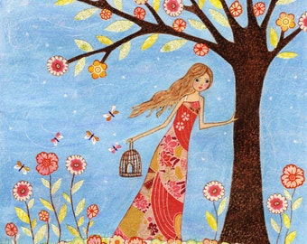 Folk Art Painting, Girl and Birdcage, Wall Art Print on Wood