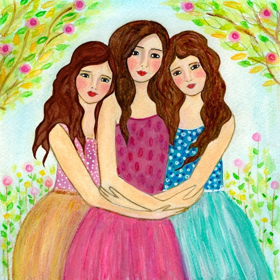 Three Sisters Art Print Three Best Friends Three Brown Etsy