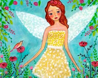 Fairy Painting Art Block Print