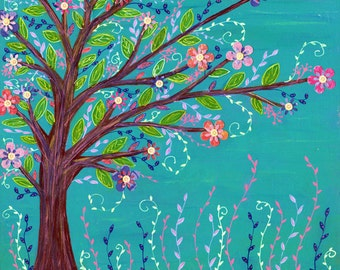 Abstract Painting - Tree Painting - Tree Landscape - Tree Collage Painting - Colorful Contemporary Art - Home Decor