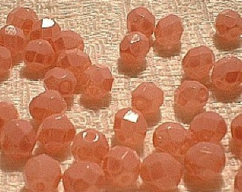 Czech Crystal Beads, F/P, 6mm, Round, Pink on Crystal, 25 Pcs.    6400-09