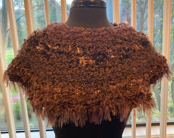 sku #2021-G-8 Purple hand-knitted mini poncho  capelet in acrylic novelty yarns