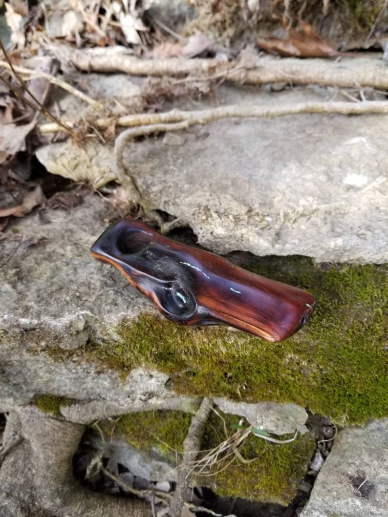 Mini Wood Pipe Custom Hand Carved Wildfire Burned Manzanita Art Display with Bright Blue Turqouise Inlay