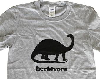 Dinosaur Herbivore Mens T-Shirt - Vegetarian Vegan Dino Mens Unisex Shirt - (Sizes S, M, L, XL)