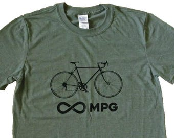 Men's Bicycle Infinity Miles Per Gallon MPG Unlimited Bike Cyclist T-Shirt - Sizes S, M, L, XL