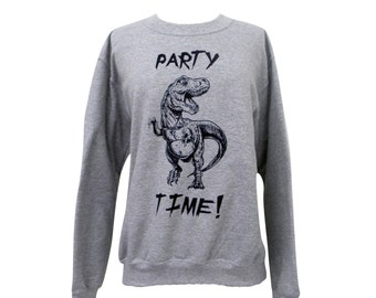 Dinosaur Sweater - Party Dino Crewneck Sweatshirt - Unisex Sizes S, M, L, XL
