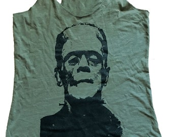 Frankenstein Graphic On a Soft Tri-blend Tank Top - (Available in sizes S, M, L, XL)