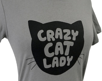 Womens Cat T-Shirt - Crazy Cat Lady Print on a Gray T-shirt - (Available in sizes S, M, L, XL)