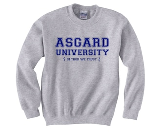 Asgard University Sweater - THOR Crewneck Sweatshirt - Unisex Sizes S, M, L, XL