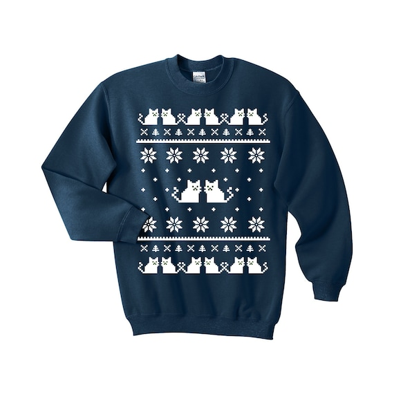 Ugly Christmas Sweater Cat.Ugly Christmas Sweater Cat Sweatshirt Unisex Sizes S M L Xl