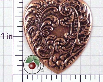 Heart Pendant, Heart Charm, Heart Stamping, Embossed Heart, Vintage Heart, Copper Plated Brass, 2 Pcs, 1498co2
