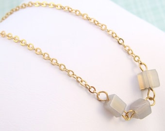 Gold Chain Bracelet with Grey Agate Semi-Precious Stone Cubes -  Great to Layer!