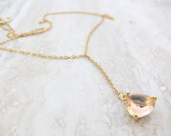 Delicate Y-Necklace with Peach Faceted Glass Crystal Pendant; Gold Chain