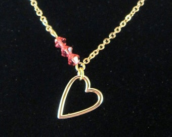 Gold Heart Pendant Chain Necklace with Pink Swarovski Crystal Accent; Asymmetrical - Love!