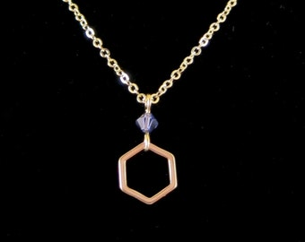Gold Hexagon Pendant Chain Necklace with Swarovski Crystal Accent - Perfect to layer!