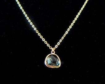 Faceted Glass Crystal Pendant Chain Necklace - Turquoise or Grey