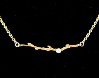 Thin Tree Branch with Freshwater Pearl on a Gold Chain Necklace - Back to Nature!