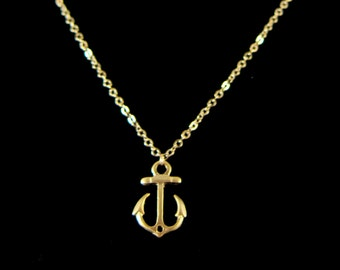 Matte Gold Anchor Pendant Chain Necklace - Perfect to layer!