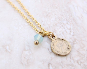 Miniature Antique Gold Queen Elizabeth Coin and Milky Turquoise Swarovski Crystal Chain Necklace - Ideal for layering!