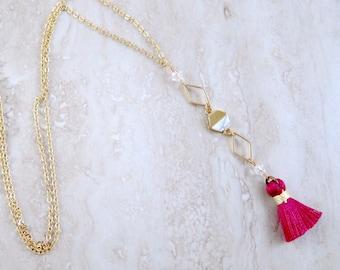 Bohemian Magenta Tassel, Carrara Marble, Swarovski Crystal Gold Chain Necklace