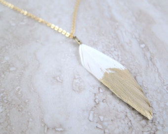 Gold Dipped White Feather on Gold Chain Necklace