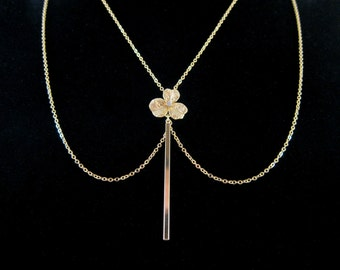 Draped Gold Chain Necklace with CZ Accent Flower and Vertical Bar Drop Pendant