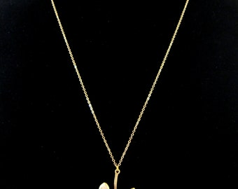 Ginkgo Leaf Pendant Matte Gold Chain Necklace - Perfect to layer!
