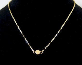 Matte Gold Disc Pendant Chain Necklace - Perfect to layer!