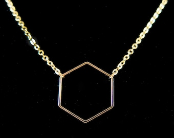 Thin Gold Hexagon Pendant Chain Necklace - Perfect to layer!