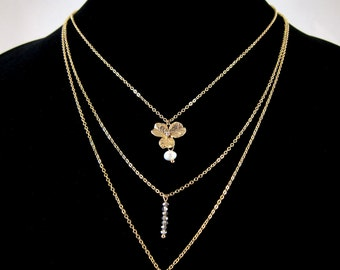 Triple Layer Floral Gold Chain Necklace Set with Swarovski Crystal, CZ and Freshwater Pearl Accents - All-in-one!