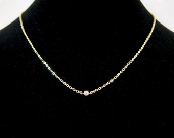 Micro CZ Diamond Crystal Gold Chain Necklace - Perfect to layer! Tiny, Dainty and Delicate