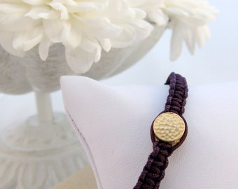 Purple Bracelet with Matte Gold Disc Hand Knotted Macrame - Perfect for Layering!