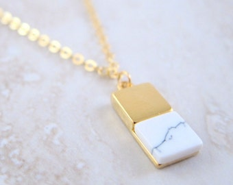 Carrara Marble Rectangle Gold Chain Necklace - Geometric White Howlite Pendant