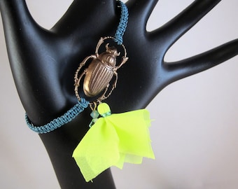 Good Luck Bronze Scarab Beetle Bracelet - Turquoise Hand Knotted Band with Neon Yellow Chiffon Tassel and Mint Green Swarovski Crystal