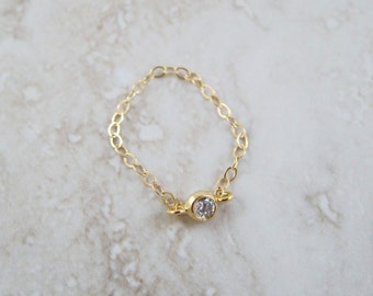 14k Gold Micro CZ Crystal Chain Ring - Dior Inspired! Choice of 4 Tiny Cubic Zirconia Colors