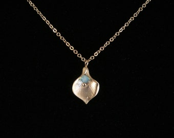 Calla Lily Flower Pendant Gold Chain Necklace with Pacific Opal Turquoise Swarovski Crystal