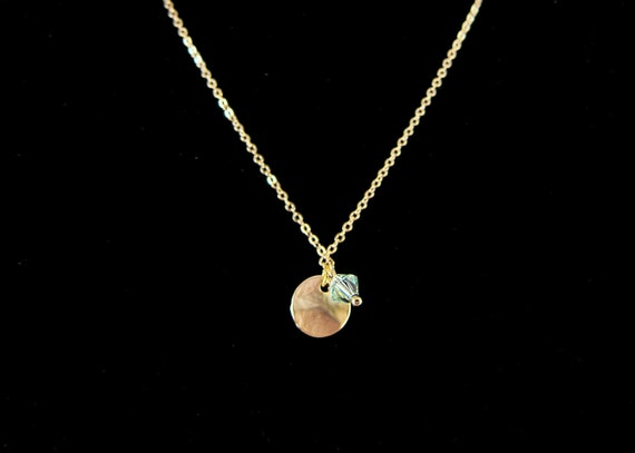 Matte Gold Wavy Disc And Mint Green Swarovski Crystal